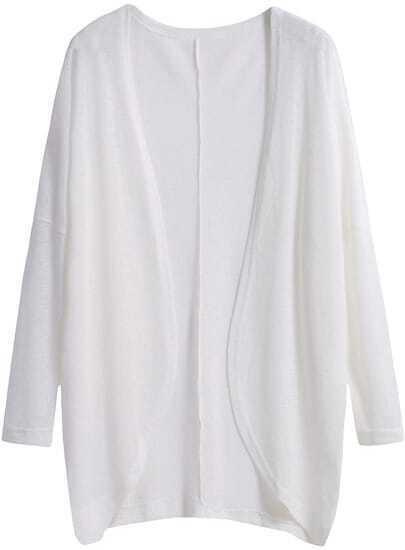 White Long Sleeve Loose Knit Cardigan
