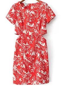Red Short Sleeve Leaves Print Midriff Dress