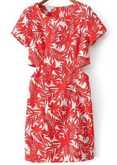 Red Melon Short Sleeve Leaves Print Midriff Dress