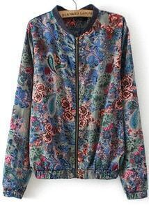 Multicolor Long Sleeve Vintage Floral Jacket