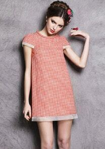 Pink Puff Sleeve Houndstooth Slim Dress