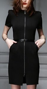 Black Short Sleeve Zipper Pockets Dress