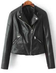 Black Stand Collar Oblique Zipper Crop PU Jacket