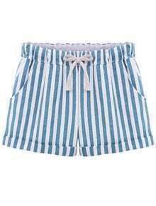 Blue Drawstring Waist Vertical Stripe Shorts