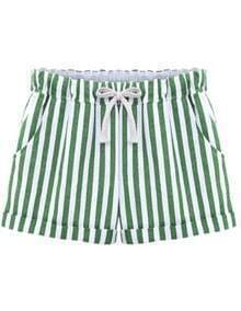 Green Drawstring Waist Vertical Stripe Shorts
