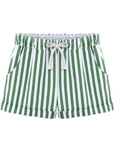 Green Drawstring Waist Vertical Stripe Shorts