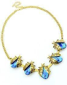 Blue Beetles Gemstone Gold Necklace