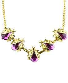 Purple Beetles Gemstone Gold Necklace