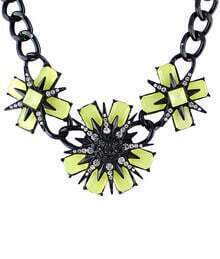 Neon Green Flower Gemstone Black Necklace