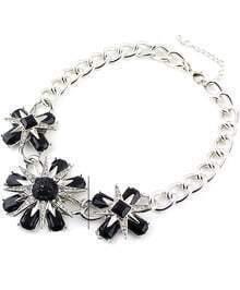 Black Green Flower Gemstone Silver Necklace