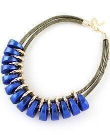 Blue Round Gold Double Necklace