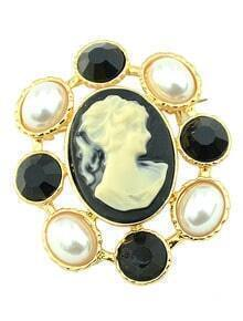 White Pearl Girl Gold Brooches