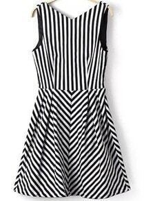 Black White V Neck Vertical Stripe Dress