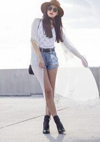 White Half Sleeve Lace Tassel Chiffon Blouse