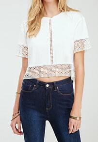 White Short Sleeve Hollow Loose T-Shirt