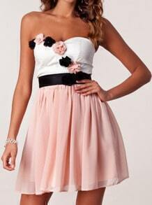Pink Cocktails Bodice Strapless Applique Chiffon Tube Dress