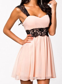 Pink Coctel Corseted Lace Strap Backless Pleated Dress