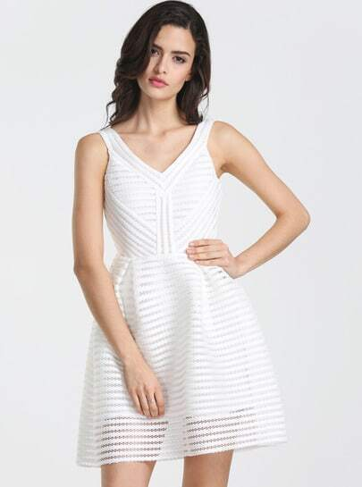 White V Neck Hollow Flare Dress