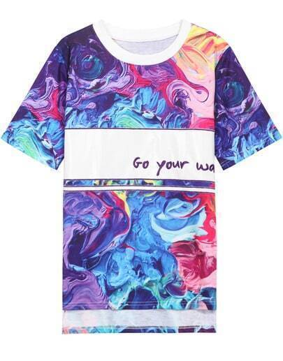 Multicolor Dip Hem Abstract Letters Print T-Shirt