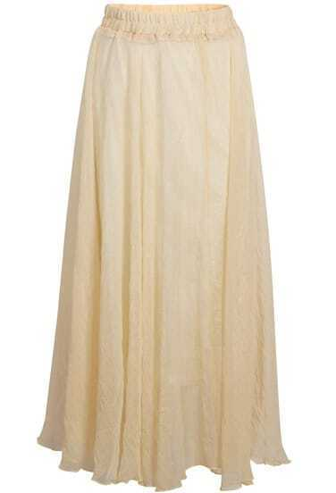 Pale Yellow Elastic Waist Chiffon Pleated Skirt