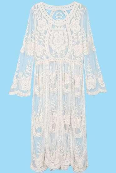Beige Long Sleeve Sheer Lace Crochet Dress