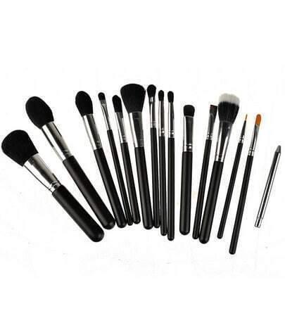15pcs pro black makeup brushes set powder foundation