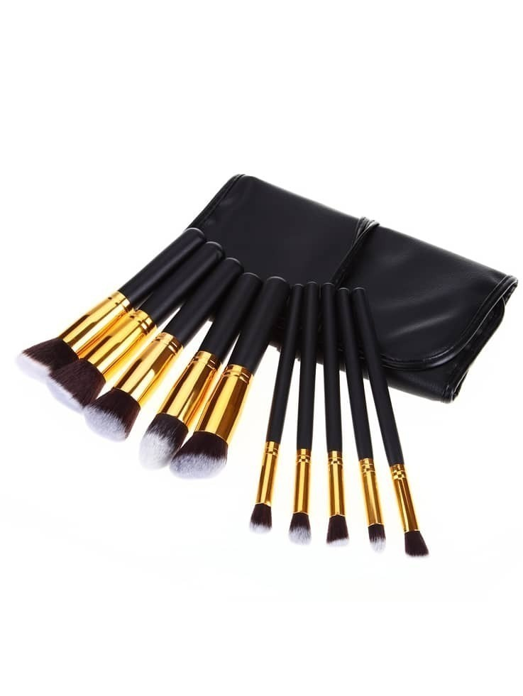 10pcs Professional Makeup Set Brushes Tools Gold Black With Bag