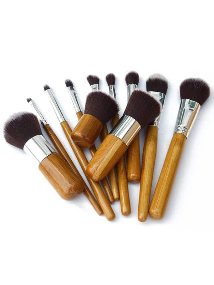 Image of 11 Pcs Bamboo Makeup Foundation Fiber Liner Eyeshadow Cosmetic Brush Set Bag Kit