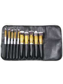 10pcs Professional Makeup Set Brushes Tools Gold White With Bag