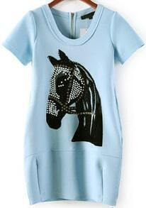 Blue Short Sleeve Bead Horse Pattern Slim Dress