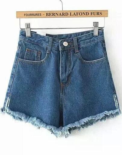 Blue High Waist Pockets Fringe Denim Shorts