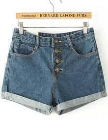 Blue Flange Buttons Denim Shorts