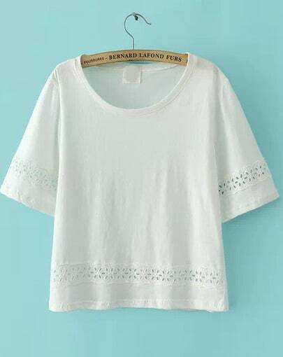 White Round Neck Hollow Embroidered T-Shirt