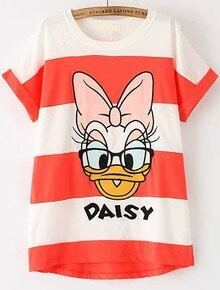 Red White Striped Donald Duck Print T-Shirt