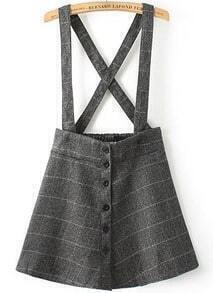 Grey Strap Plaid Buttons Skirt