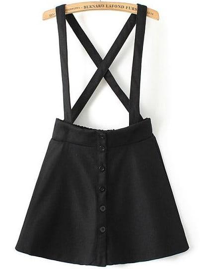 Black Strap Buttons Skirt
