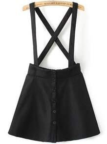 70845d3ca Black Strap Buttons Skirt