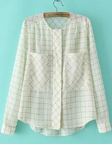 Beige Long Sleeve Plaid Dip Hem Blouse