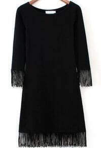 Black Round Neck Tassel Slim Dress