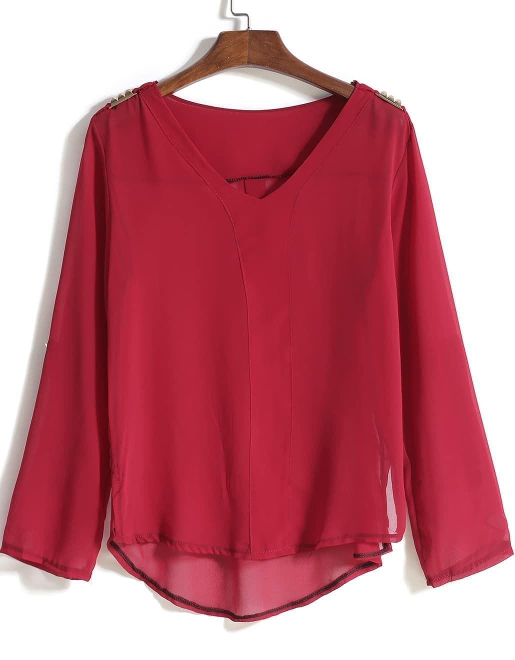 Шифоновая Красная Блузка Купить