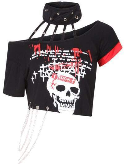 Black Halter Skull Print With Chain T-Shirt