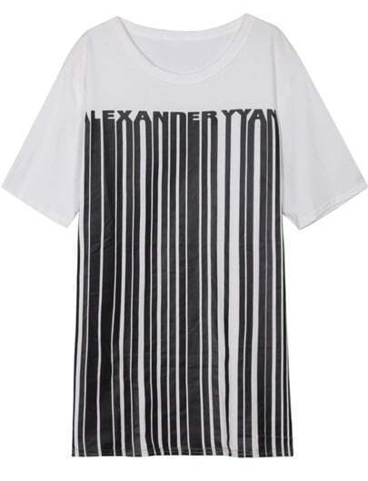 White Round Neck Vertical Striped Loose T-Shirt