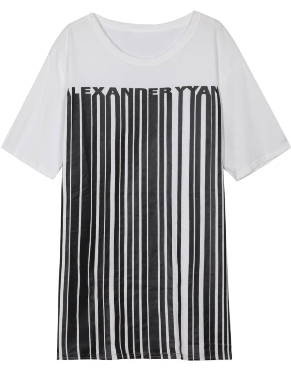 White Round Neck Vertical Striped Loose T-Shirt -SheIn ...
