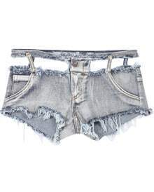 Pale Grey Fringe Ripped Denim Shorts