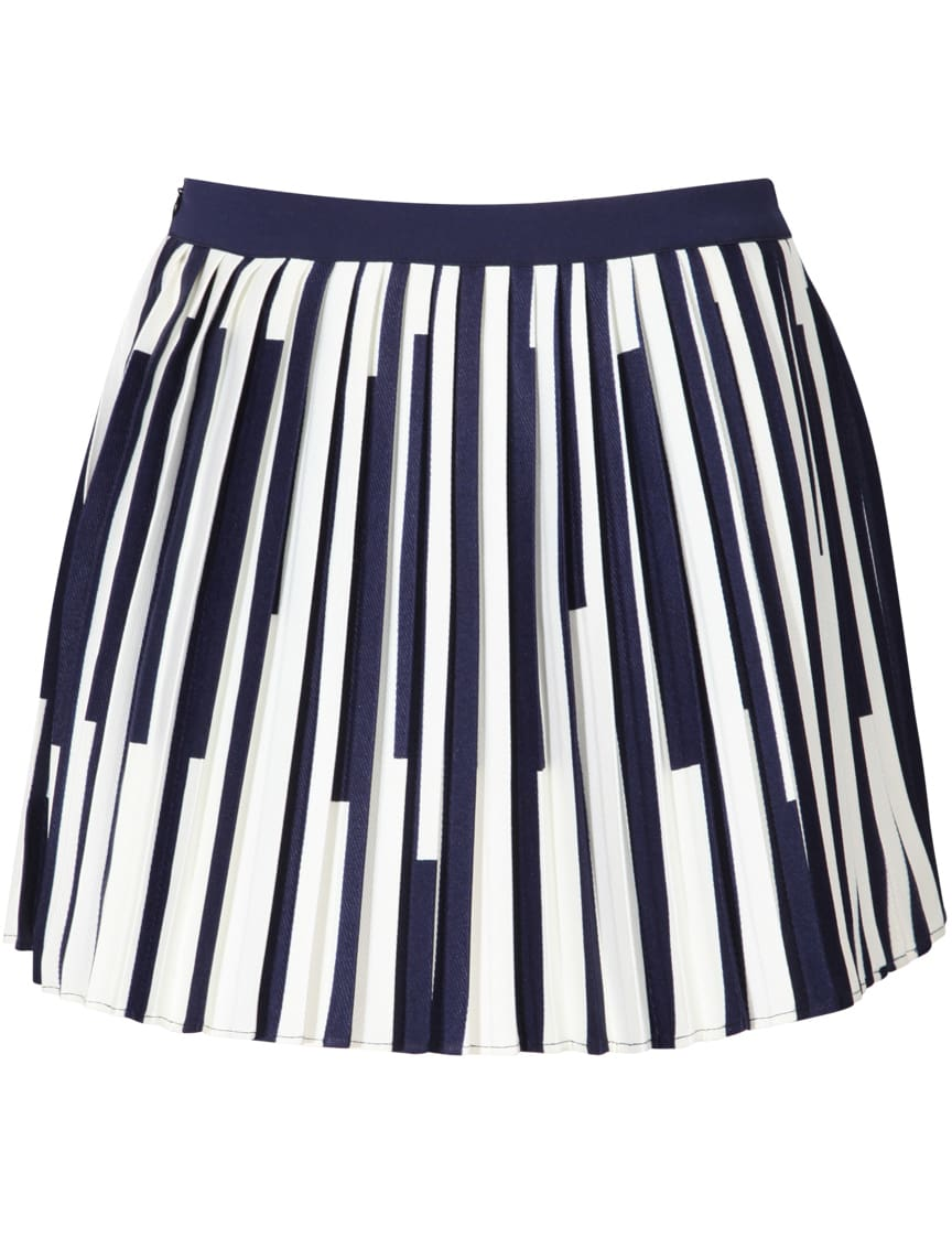 royal blue vertical striped pleated skirt shein sheinside