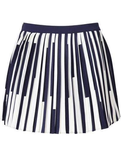 Royal Blue Vertical Striped Pleated Skirt