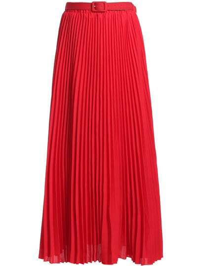 Red With Belt Chiffon Pleated Skirt