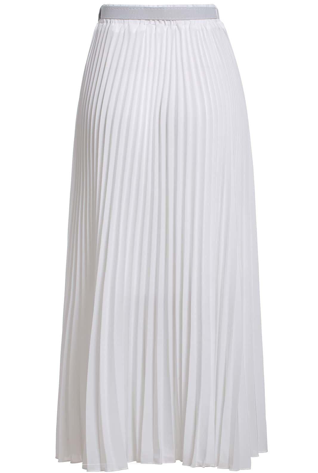 white with belt chiffon pleated skirt shein sheinside