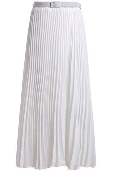 White With Belt Chiffon Pleated Skirt