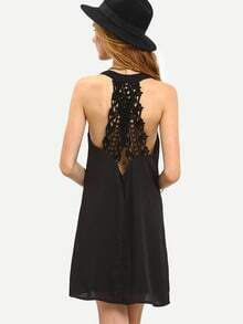 Black Sleeveless With Lace Dress